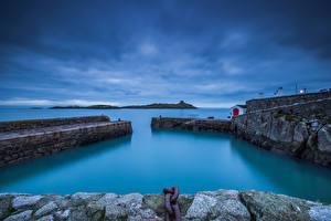 Фото Ирландия Побережье Вечер Причалы Colimore Harbour Природа