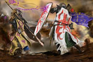 Картинки Рыцарь Сражения Щит Мечи Копья Драка