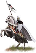Фотографии Рыцарь Лошади Щит Templar