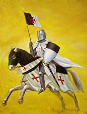 Картинка Рыцарь Лошади Щит Templar