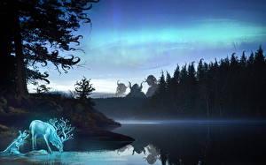 Фотография Озеро Олени Монстры Волшебные животные Деревья Отражение Фантастика