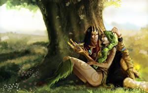 Обои для рабочего стола LOL Влюбленные пары Два Ствол дерева Soraka, Jarvan Игры Девушки Фэнтези