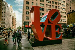 Фотография Любовь США Нью-Йорк Слово - Надпись Улица Манхэттен