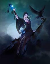 Картинки Волшебство Вороны Ведьма Ночные Луна Фантастика Девушки