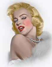Обои Мэрилин Монро Рисованные Блондинка Девушки