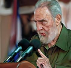 Фотографии Мужчины Рисованные Бородатый Старик Микрофон Fidel Castro Знаменитости