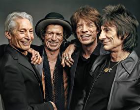 Картинка Мужчины Улыбка Rolling Stones, Mick Jagger, Keith Richards, Ronnie Wood, Charlie Watts