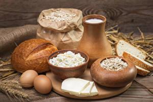 Обои Молоко Творог Хлеб Сыры Кувшин Яйца Продукты питания