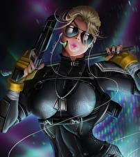 Картинки Mortal Kombat Пистолеты Очки Блондинка Мечи Наушники Cassie Cage Игры Девушки