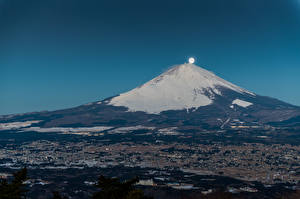 Фотография Горы Фудзияма Япония Вулканы Луна Природа