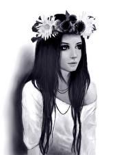 Фотография Рисованные Черно белое Венок Девушки