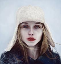Фото Рисованные Шапки Лицо Взгляд Девушки