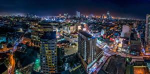 Фотографии Филиппины Здания Мегаполис Ночные Сверху Manila город