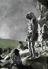 Фотография Живопись Зденек Буриан Черно белое Старый мужчина Neanderthal camp
