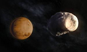 Картинка Планеты Марс Phobos Космос 3D_Графика