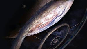 Картинки Планеты Орбитальные станции Фантастика Космос