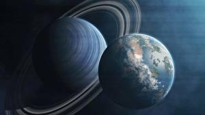 Фотографии Планета Кольца планет Космос 3D_Графика
