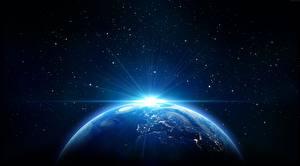 Картинки Планеты Лучи света Земли 3D_Графика