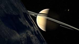 Фотография Планета Сатурн Кольца планет Космос 3D_Графика