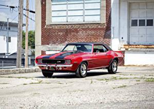 Обои Ретро Chevrolet Красный Camaro 1969 Автомобили