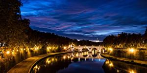Фотография Рим Италия Речка Мосты Ночные Уличные фонари