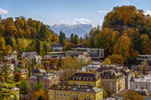 Фотография Зальцбург Австрия Здания Деревья Крыша Города