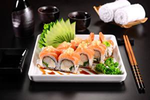 Фото Морепродукты Суси Пища Палочки для еды Еда