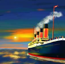 Картинка Корабль Рисованные Живопись