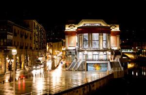 Картинка Испания Дома Улица Ночные Уличные фонари Bilbao Basque Города