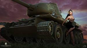 Обои Т-34 WOT Nikita Bolyakov Русские компьютерная игра Девушки