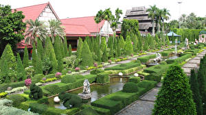 Фотографии Таиланд Сады Фонтаны Скульптуры Дизайн Кусты Nong Nooch Tropical Botanical Garden