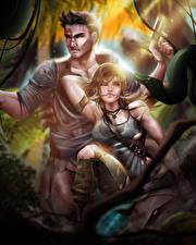 Фотографии Tomb Raider 2013 Змеи Мужчины Лара Крофт компьютерная игра Девушки