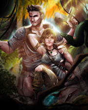 Фотографии Tomb Raider 2013 Змея Мужчины Лара Крофт Девушки