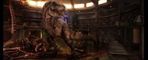 Обои Тираннозавр рекс Динозавры Мир юрского периода Лестница Кости Кино