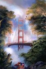 Фотографии Штаты Мосты Рождество Рисованные Сан-Франциско Подарок The Golden Gate Bridge Города