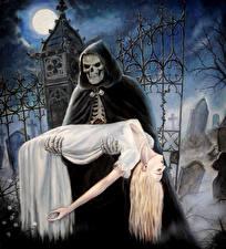 Фотография Нечисть Готика Фэнтези Кладбище Образ смерти Ночь Луны Капюшон Девушки