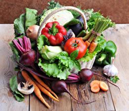 Фотография Овощи Перец Томаты Морковь Доски Еда