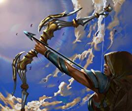 Фотография Воины Лучники Небо Стрела Лук оружие Фантастика