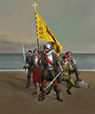 Картинка Воители Побережье Мечи Доспехи Conquistadors