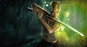 Фотография Воин Катана Дождь Сабли Меча Фантастика Девушки