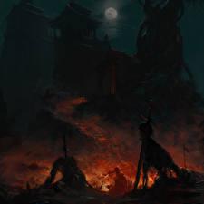 Фотографии Воины Пагоды Ночные Лестница Скелет Луна Фантастика