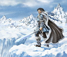 Картинка Воины The Elder Scrolls Мужчины Мечи Плащ Доспехи Снег Фэнтези