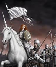 Картинки Воин Единороги Копья С щитом Шлем Фантастика Девушки