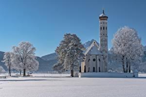 Картинки Зимние Церковь Храмы Германия Снег Альпы Бавария Деревья St. Coloman Schwangau