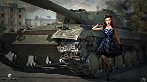 Фотографии World of Tanks Танки Российские Nikita Bolyakov Object 430 Девушки