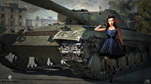 Фотографии World of Tanks Танки Русские Nikita Bolyakov Object 430 Игры Девушки