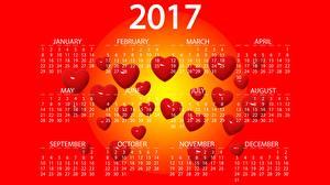 Картинка 2017 Календарь Сердечко Английский