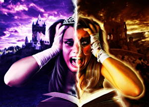 Картинки Книга Крик Страх Молния A Cursed Happy Ending Фэнтези Девушки