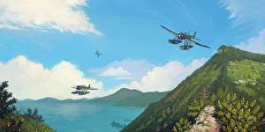 Фотографии Самолеты Рисованные Японские Гидроплан Aichi E13A Jake Авиация