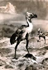 Фото Древние животные Зденек Буриан Черно белое Phororhacos
